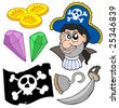 Pirate collection 5 on white background - vector illustration. - stock vector