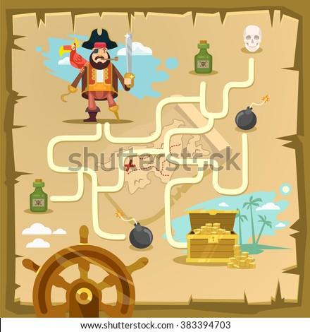 Maze Pirates Vector Game Kids Play Stock Vector 328844303