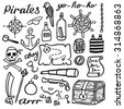 Pirate set, sea and treasures. Hand-drawn cartoon collection. Doodle drawing. Vector illustration.  - stock vector