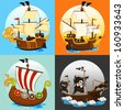 Pirate Ship Collection Set - stock vector
