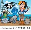 Pirate ship deck theme 8 - vector illustration. - stock photo