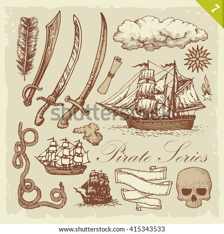 Pirate sketches. Layered vector set.