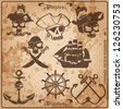 pirate skull vintage vector set. - stock photo