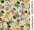 Pirate Skulls with Crossed Swords Seamless Pattern - stock vector