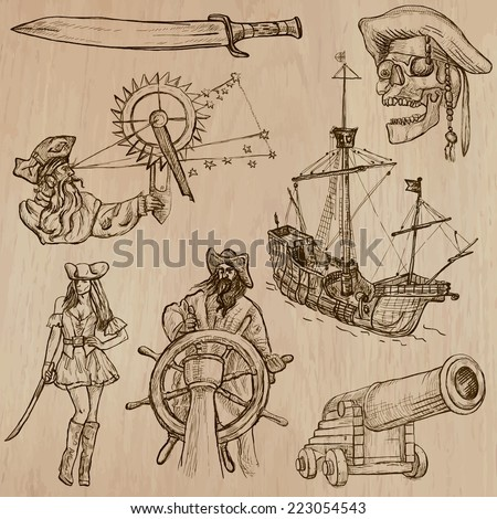 Pirates, Buccaneers and Sailors - Collection (no.1) of an hand drawn illustrations. Description: Each drawing comprise of three layer of outlines, the colored background is isolated.
