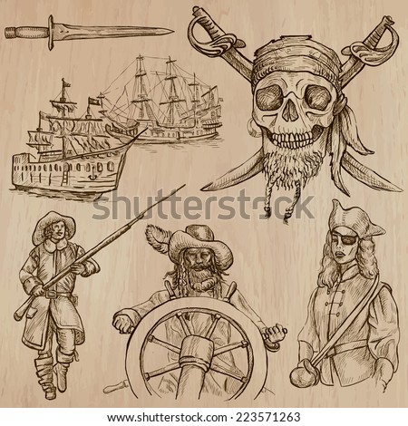 Pirates, Buccaneers and Sailors - Collection (no.5) of an hand drawn illustrations. Description: Each drawing comprise of three layer of outlines, the colored background is isolated.