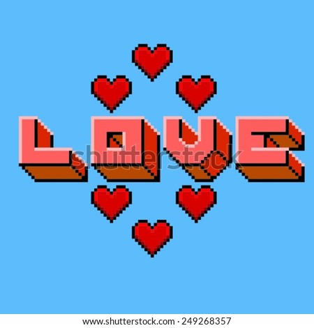 love pixelart logo 3 hearts stock vector 245438878 shutterstock. Black Bedroom Furniture Sets. Home Design Ideas