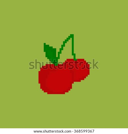 pixel cherry on a green background