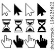 Pixel cursors icons mouse hand arrow hourglass - stock vector