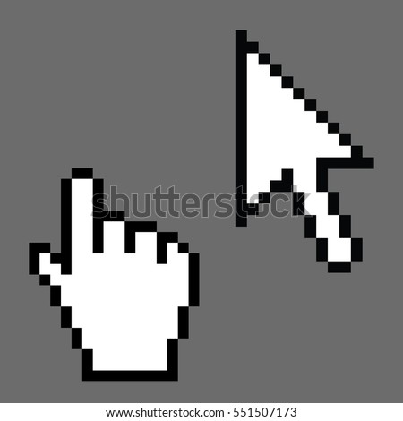 Pixel cursors icons, mouse Illustration