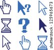 pixel cursors, pointer, hands icons set, vector - stock vector