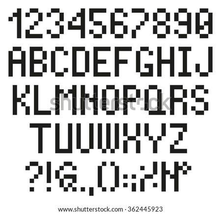 Pixel Letters Numbers Alphabet Font Stock Vector 361549739 ...