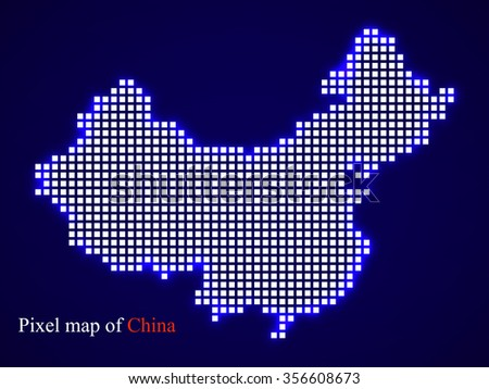 Pixel map of China. Technology style with glow effect. Colorful background. Vector illustration. Eps 10
