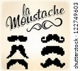 Pixel Mustache set - stock vector