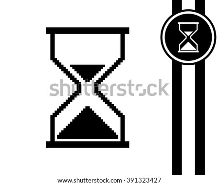 pixel sand clock cursor - black and white vector icon