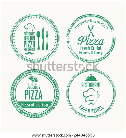 Pizza grunge rubber stamps