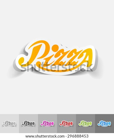pizza paper sticker with shadow. Vector illustration