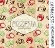 Pizzeria menu design with food icons background for your design - stock vector