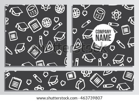 Placards with Web Banner. Back to school background. Branding template with back to school pattern