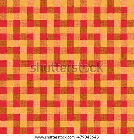 Plaid Kitchen Tablecloth Pattern With Vintage Yellow Orange Color. Seamless  Geometric Square Checkered Fabric