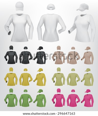 Plain female long sleeve shirt template on isolated background.