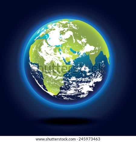 Planet Earth on a blue background
