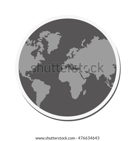 planet earth sphere globe map  icon. Flat and isolated design. Vector illustration