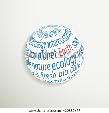 Planet icon with environmental themes. Vector illustration.