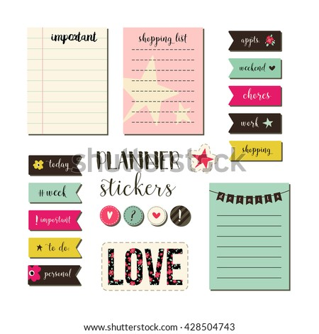 Signs, Symbols, Objects And Templates For Planners, Invitations, Notebooks  Birthday Planner Template