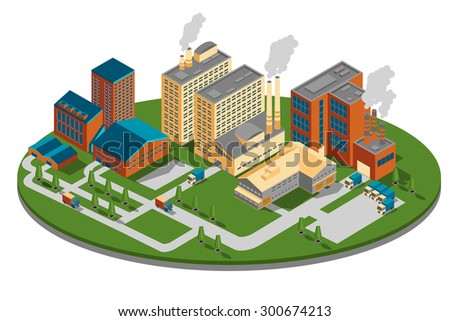 Plant or factory top side view. Bbuilding isometric, industrial business power, energy construction design. Vector illustration