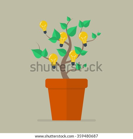 Plant with light bulb idea flat icon. Vector Illustration