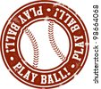 Play Ball Baseball or Softball Stamp - stock vector