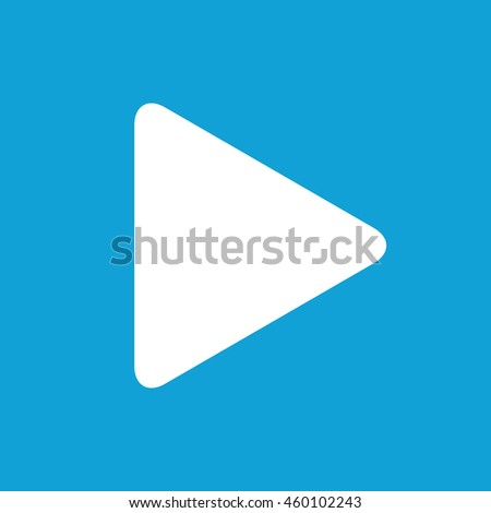 Play button icon vector. Blue background