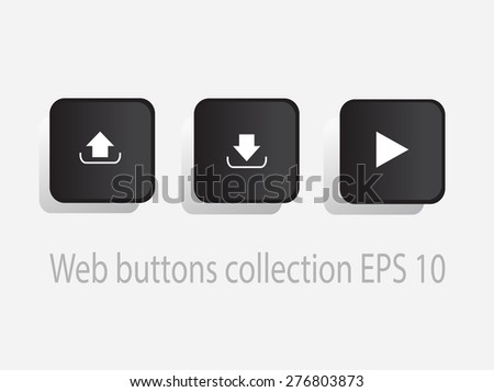 Play, upload and download button vector design  black