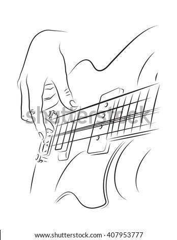 Playing Bass Line Art Illustration