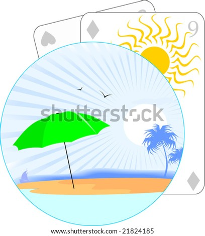 playing cards and beach umbrella