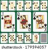 Playing cards, club suit, joker and back. Faces double sized. Green background in a separate level  - stock