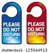 please do not disturb vector sign set (hotel hanger sign) - stock