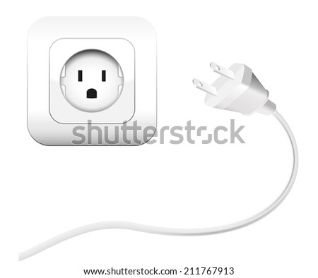 Plug and a socket - NEMA connector to connect electrical equipment. Isolated vector illustration on white background.