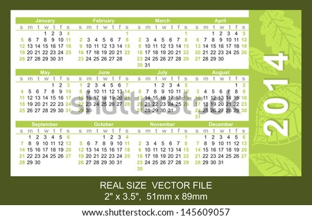 "Pocket Calendar 2014, vector, start on Sunday SIZE: 2"" x 3.5"",  51mm x 89mm type Ariel"