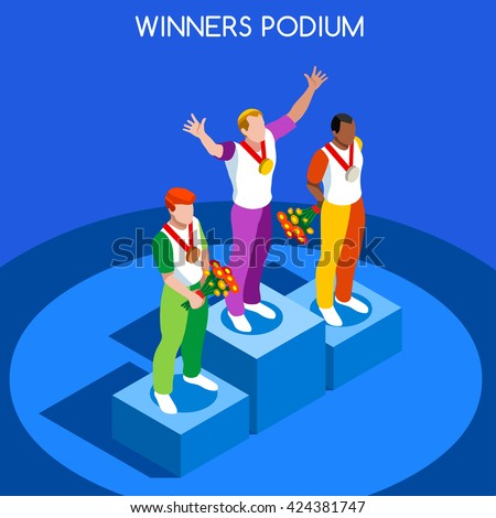 Podium Sport Athletic logo isometric winner athlete Gold medal infographic. Flat Winning Athlete Tokyo 2020. Olympic game people Icon. Winner Set individual soccer Sportsmen Pedestal Vector Collection