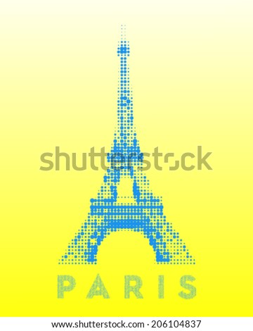 point half-tone illustration eiffel tower