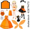Pointing Paper Doll with three dresses for Halloween Party - stock vector