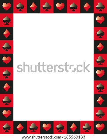 poker border frame game card red and black