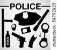 police equipment silhouettes - stock vector