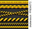 Police line and danger tapes on dark background. Vector illustration. - stock vector