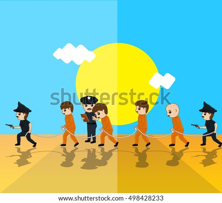 Police with Criminals Vector Illustration