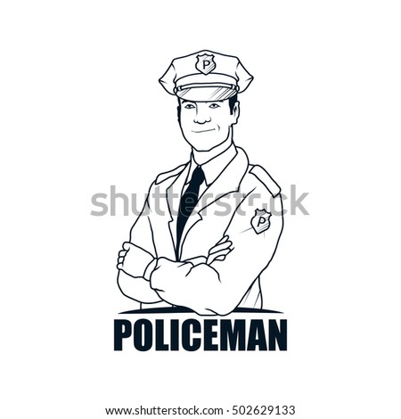 policeman drawing vector logo icon clipart png wallpaper silhouette