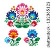 Polish floral folk embroidery pattern - wycinanka, wzory ?owickie - stock vector