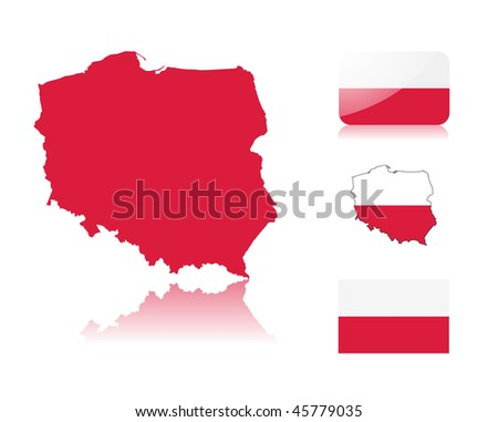 Polish map including: map with reflection, map in flag colors, glossy and normal flag of Poland.